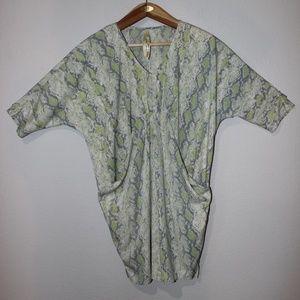 Green Snake Skin Print Uncle Frank Loose dress
